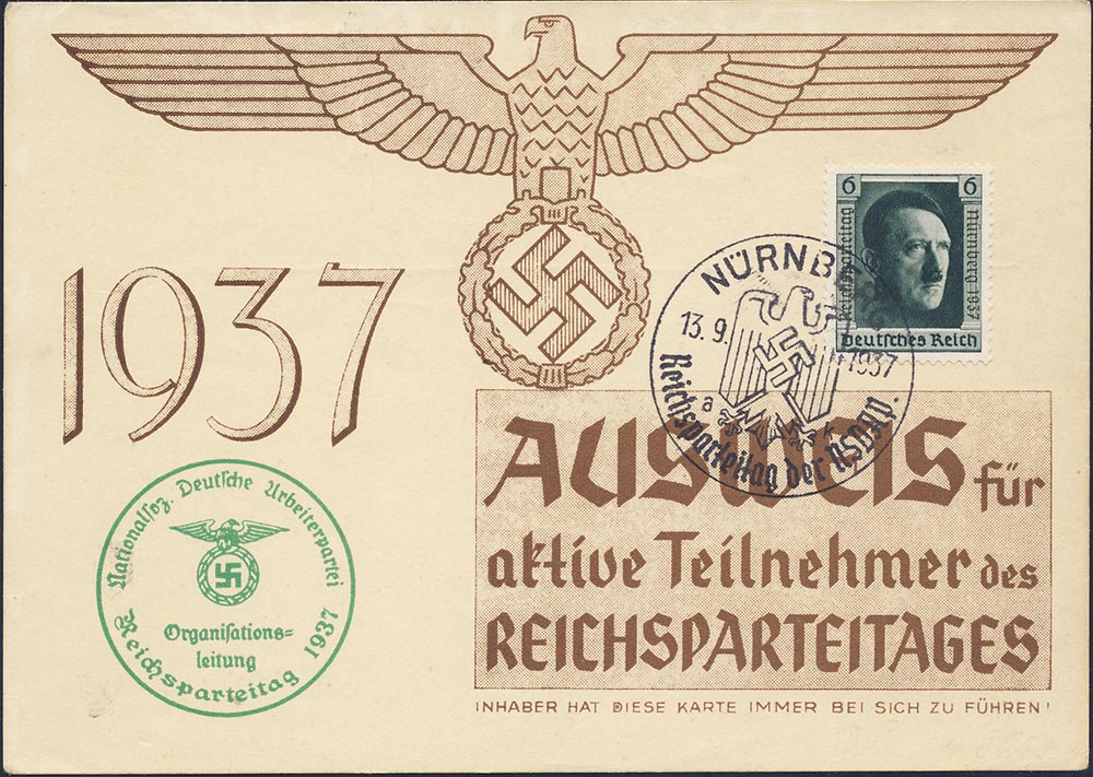 1937 Reich Party Rally. Admission card.