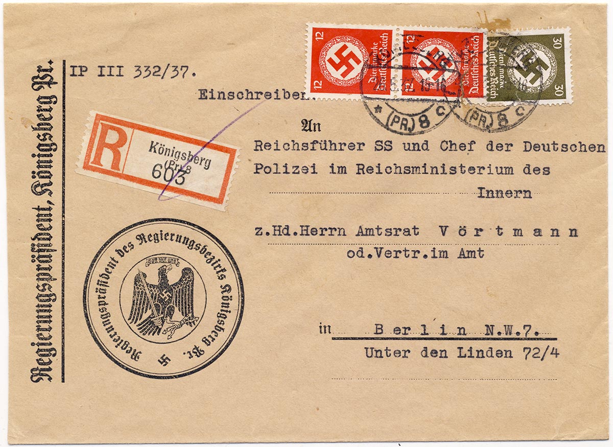 Cover from government president Königsberg to Reichsführer SS