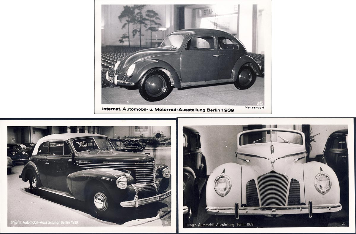 3 postcards from the 1938 international car exhibition in Berlin