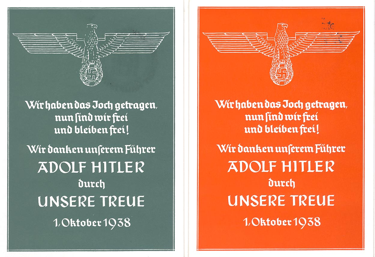 2 propaganda postcards. We have carried the yoke. (green and red