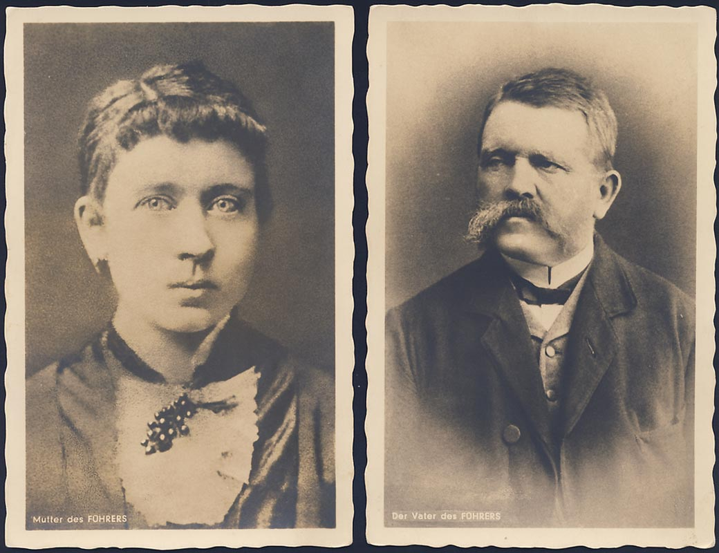Adolf Hitler's parents (2 postcards)