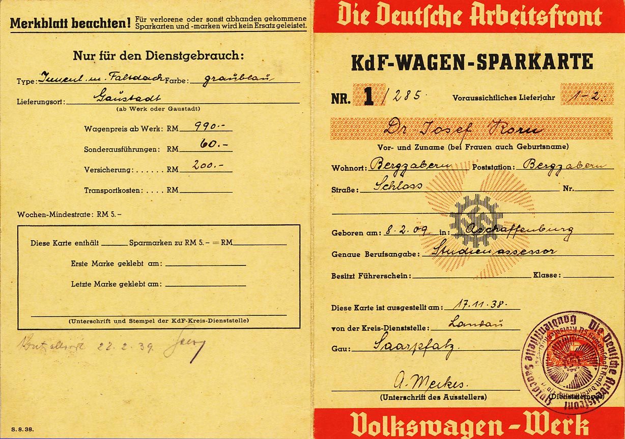 VW saving card. Rare (with printed fee stamp). See the pictures.